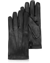 Moreschi - Siberia Black Leather Men's Gloves W/cashmere Lining - Lyst