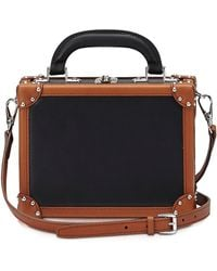 Bertoni - Black & Terra Leather Mini Squared Bertoncina Bag - Lyst
