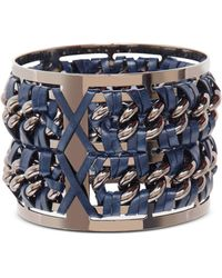 Pluma - Gunmetal Brass And Navy Blue Leather Large Bangle In Fumoso - Lyst