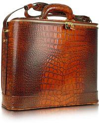 Pratesi - Croco Stamped Leather Laptop Business Bag W/courtesy Light - Lyst
