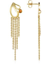 Sho London - Mari Splash Fringe Earrings W/ White Crystal - Lyst