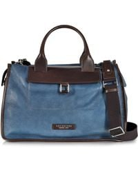 The Bridge - Urban Blue And Brown Leather Travel Bag - Lyst