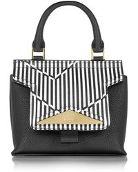 Vionnet - Mosaic 20 Orchid White & Black Optical Print Leather Mini Satchel Bag W/shoulder Strap - Lyst
