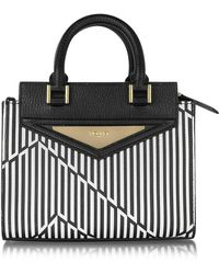 Vionnet - Shopping 20 Orchid White & Black Optical Print Leather Mini Tote Bag W/shoulder Strap - Lyst