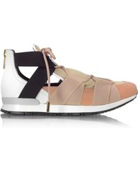 Vionnet - White Leather And Multicolour Elastic Bands Trainers - Lyst