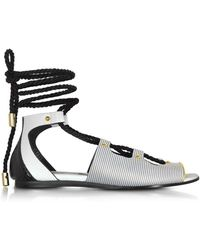 Vionnet - Pearl Grey Stripe Leather & Orchid White/black Elaphe Lace Up Flat Sandal - Lyst