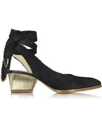 Zoe Lee - Oberline Black Suede Ankle Wrap Shoe - Lyst