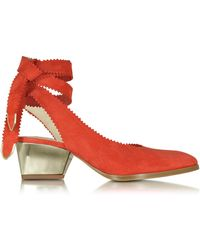 Zoe Lee - Oberline Red Suede Ankle Wrap Shoe - Lyst