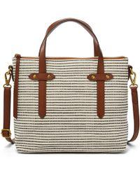 Fossil - Felicity Satchel Handbags Black Stripe - Lyst