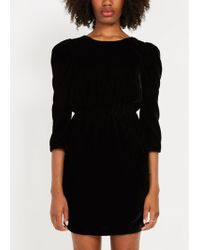 Frank And Oak - Puffy Sleeved Velvet Dress - True Black - Lyst