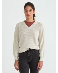 Frank And Oak | Off-shoulder Cotton V-neck Sweater In Stone Heather | Lyst