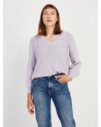 Frank And Oak - Off-shoulder Cotton V-neck Sweater In Lavender Heather - Lyst