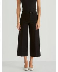 Frank And Oak - High Waist Wide Leg Cropped Pant In True Black - Lyst