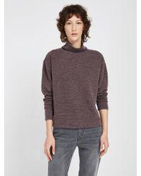 Frank And Oak - Fleece Mockneck Sweatshirt - Purple Heather - Lyst