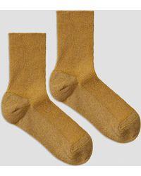 Frank + Oak - Ankle Lurex Socks In Gold - Lyst