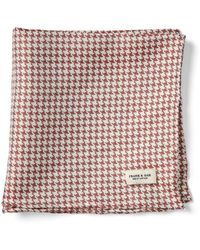 Frank And Oak - Houndstooth Silk Pocket Square In Burgundy - Lyst