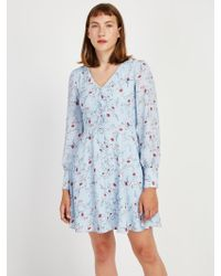Frank And Oak - Floral Printed V-neck Workwear Dress In Steel Blue - Lyst