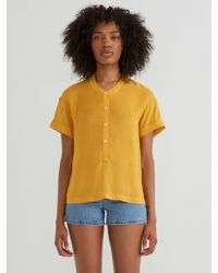 Frank And Oak - Boxy Short Sleeve Popover In Honey Gold - Lyst