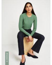 Frank And Oak - Textured Crewneck Sweater In Deep Grass Green - Lyst