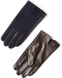 Frank + Oak - Wool & Leather Gloves In Navy - Lyst