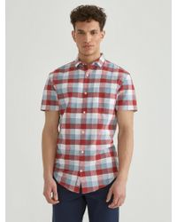 Frank And Oak - Checkered Short Sleeve Linen Blend Shirt In Red - Lyst