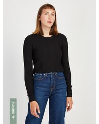 Frank And Oak - Textured Crewneck Sweater In Black - Lyst