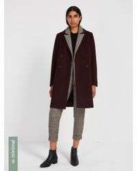 Frank And Oak - Double-breasted Cocoon Coat With Recycled Wool - Deep Plum - Lyst