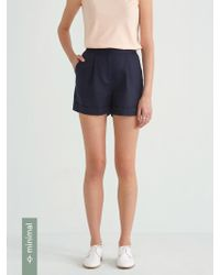 Frank And Oak - Front Pleated Linen Blend Short In Navy Blazer - Lyst