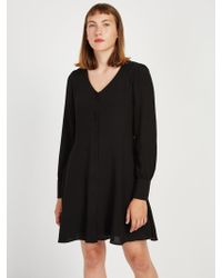 Frank And Oak - V-neck Crepe Workwear Dress - Lyst