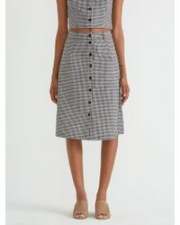 Frank And Oak - Button Down Vichy Skirt In True Black - Lyst