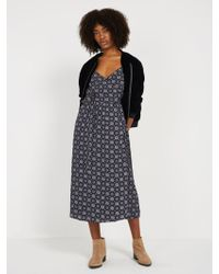 Frank And Oak - Printed Wrap Dress - Navy - Lyst
