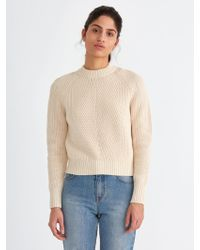 Frank And Oak | Ribbed-cotton Crewneck Sweater In Off-white | Lyst