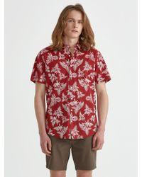 Frank And Oak - Short Sleeve Supersoft Hawaiian Print In Samba - Lyst