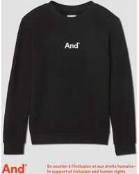 """Frank And Oak - """"and"""" Woman French Terry Crewneck In Black - Lyst"""