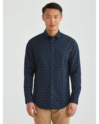 Frank And Oak - The Andover Stretch Dress Shirt In Printed Indigo - Lyst