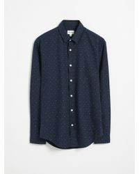 Frank And Oak - Graph Doodle-print Oxford Shirt - Navy - Lyst