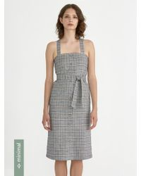 Frank And Oak - Front Button Pinafore In Prince Of Wales - Lyst