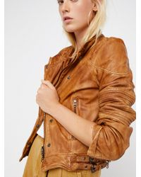 Free People - Fitted And Rugged Leather Jacket - Lyst