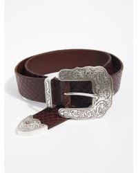 Free People - Embossed Snakeskin Leather Belt - Lyst
