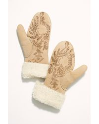 Free People - Himalaya Henna Print Shearling Mittens By Preston Knight - Lyst