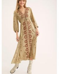 Free People - Embroidered Fable Midi Dress - Lyst