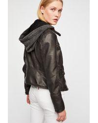 Free People - Monroe Hooded Faux-leather Jacket - Lyst