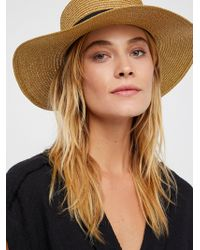 Free People - Marina Shimmer Straw Boater Hat - Lyst