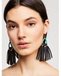 Free People - Tahiti Stone Drop Leather Hoop Earrings - Lyst