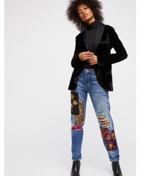 Free People - Clothes Jeans Luxe Embellished Boyfriend Jean - Lyst