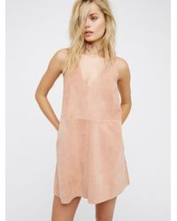 Free People - Retro Love Suede Mini Dress - Lyst