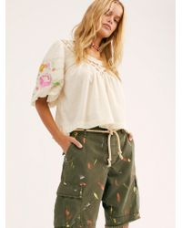 Free People Long Stroke Military Shorts By Riley Vintage