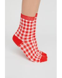 Free People - Gingham Crew Sock By B.ella - Lyst