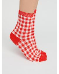 Free People - Gingham Crew Sock - Lyst