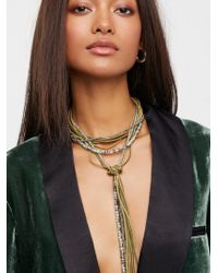 Free People - Leather X Raw Stone Bolo Necklace - Lyst